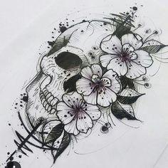 Websta Tattoo Ink Inspiration 💀🌸🌸🌸 Artist: Œ . - Websta Tattoo Ink Inspiration 💀🌸🌸🌸 Artist: Œ … - Feminine Skull Tattoos, Small Skull Tattoo, Skull Tattoo Flowers, Sugar Skull Tattoos, Skull Tattoo Design, Flower Tattoos, Tattoo Designs, Floral Skull Tattoos, Crown Tattoos