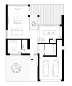 """Pull the garage forward and add a second bedroom there. Eliminate the upstairs. House """"Two white barns"""" in Gliwice. Interior Design For Beginners, Modern Home Interior Design, Modern House Design, New House Plans, Modern House Plans, House Floor Plans, The Plan, How To Plan, Planer Layout"""