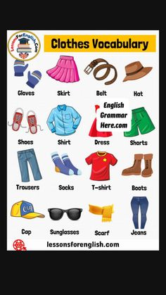 Teaching English Grammar, English Writing Skills, English Language Learners, English Vocabulary Words, Grammar Lessons, English Lessons, English Opposite Words, English Words, Clothes Words