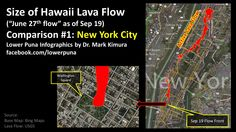 """Infographic showing the 2014 Pahoa lava flow (aka the """"June 27 breakout"""") overlaid on New York City."""