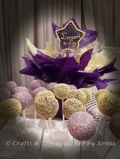 #christening cake pops and pops arrangement by Crafts & Treats Corner by Xenia