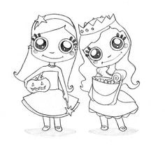 princessesthese sweet little princesses are ready for some trick or treating fun color this cute halloween picture online with the interactive coloring
