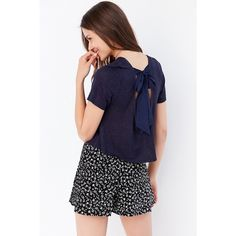 Cooperative Alix Bow-Back Tee ($20) ❤ liked on Polyvore featuring tops, t-shirts, blue t shirt, knit top, short sleeve t shirts, short sleeve crop top and bow crop top