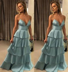 V Neck Tiered Prom Dress $175 #promdress #bluedress #formaldress #fashion