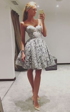 cute sweetheart grey lace prom dress, fashion knee length party dress,  lovely homecoming dress