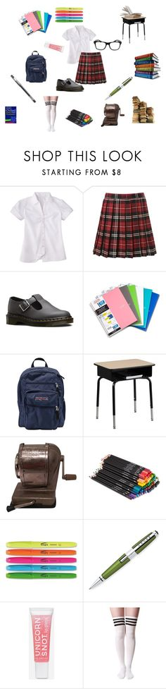 """study"" by jbillington ❤ liked on Polyvore featuring French Toast, Dr. Martens, Five Star, JanSport, Flash Furniture, Public Library, HI-TEC, studying and study"