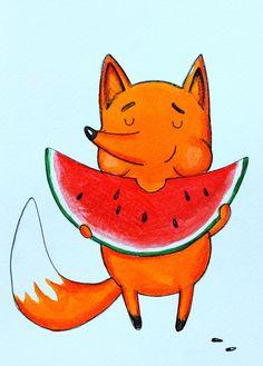 Fox eating watermelon