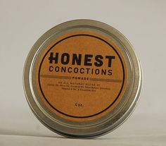 Men's Pomade in 4oz. Tin made All Natural by HonestConcoctions, $12.50