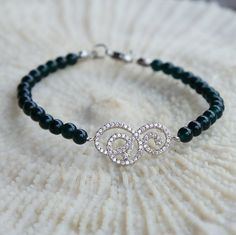 Jade Bracelet with Zirconia Sterling silver 925 by CharmByIA, $35.00