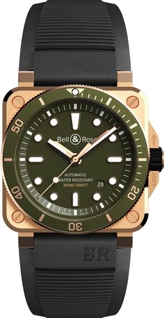 Neue Uhr: Bell & Ross BR03-92 DIVER GREEN BRONZE Bell Ross, Breitling, Seiko, Cool Watches, Watches For Men, Omega, Timex Watches, Men's Watches, Rolex
