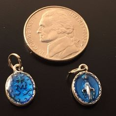 2 TINY Pendants - Blessed Mother Mary Miraculous Medal - Blessed by Pope