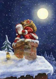 c est noel - Page 7 Christmas Scenes, Noel Christmas, Father Christmas, Vintage Christmas Cards, Christmas Pictures, Winter Christmas, Xmas, Christmas Eve Images, Christmas Mantles
