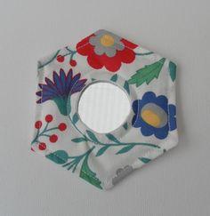 Handbag Mirror, Laura Ashley Fabric, Hexagonal, Multi-coloured Floral on White