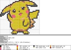 Pikachu XStitch Pattern 2 by niakane on DeviantArt Pokemon Cross Stitch, Tiny Cross Stitch, Beaded Cross Stitch, Cross Stitch Designs, Cross Stitch Patterns, Pixel Art, Minecraft Pattern, Pikachu, Stitch Character
