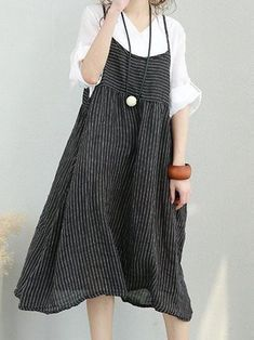 Only US$30.77 , shop M-5XL Women Stripe Strap Mid-long Dress at Banggood.com. Buy fashion Casual Dresses online.