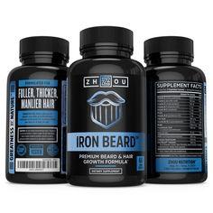 Zhou Nutrition Iron Beard, Growth Vitamin Supplement for Men, 60 Capsules Beard Hair Growth, Best Beard Growth, Hair Remedies For Growth, Home Remedies For Hair, Best Hair Vitamins, Natural Vitamins, Vitamins For Beard Growth, Hair Regrowth Shampoo, How To Grow Natural Hair