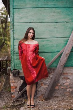 Felted red dress fall autumn fashion party clothing red by Baymut, $470.00