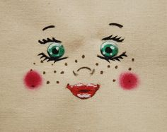 Visage, figure, tête de poupée poupon pour création textile DIY poupée en chiffon : Patrons par secotine-mercerie