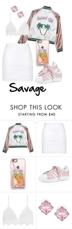 """Rockin All White far from Dingy!"" by africanamericangoddess ❤ liked on Polyvore featuring Topshop, Casetify, adidas and Kenneth Jay Lane"