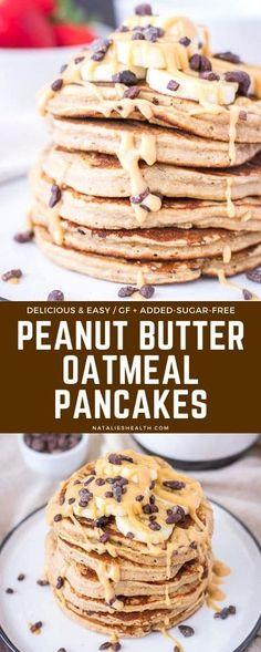 Pancakes Vegan, Peanut Butter Pancakes, Peanut Butter Breakfast, Sugar Free Peanut Butter, Peanut Butter Oatmeal, Healthy Peanut Butter, Peanut Butter Recipes, Breakfast Pancakes, Free Breakfast