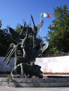 A sculpture of the Children of Lir at The Garden of Remembrance in Dublin.