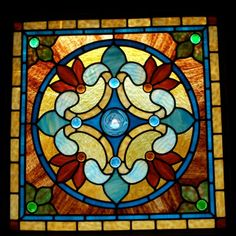 Stained Glass Windows for Sale | Blue Rondel with Antique Glass