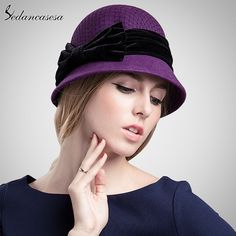 100% Wool From Australian Fedora Hat Formal Hat Mesh Bow Decoration Ladies Round Brim Basin Hat Wool Cap FW014070