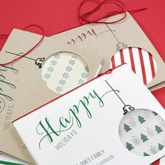 Customizable Cutout Ornament Free Printable Cards   Get these printable Christmas cards that can be customized with your family name!