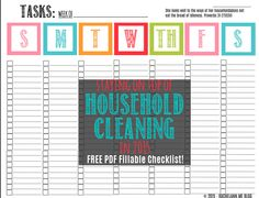 """""""She looks well to the ways of her household and does not eat the bread of idleness."""" Proverbs 31:27 (ESV) A free task checklist download with Proverbs 31 verse at http://rachelann.me/cleaning It's PDF fillable!"""