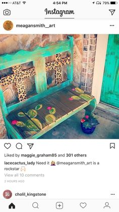 Why Teak Outdoor Garden Furniture? Funky Furniture, Furniture Projects, Furniture Makeover, Home Projects, Painted Furniture, Western Furniture, Rustic Furniture, Painted Benches, Cactus Decor