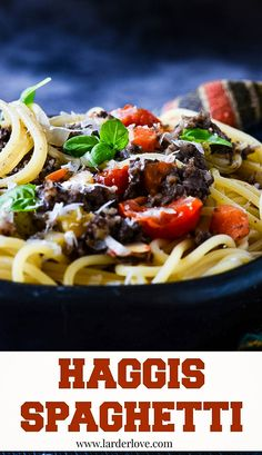 Haggis spaghetti is a modern twist on this Scottish classic by larderlove Scottish Dishes, Scottish Recipes, Turkish Recipes, Italian Recipes, Ethnic Recipes, Romanian Recipes, Meals For Two, Main Meals, Burns Night Recipes