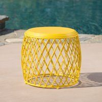 Alejandro Outdoor 19 Inch Diameter Lattice Iron Side Table Yellow Metal Patio Furniture Side Table Noble House