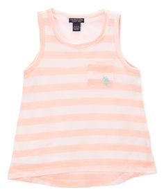 Neon Light Coral Stripe Hi-Low Tank - Toddler & Girls