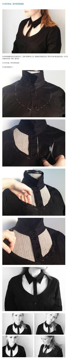 fake collar DIY - mens shirt refashioned into a sex female top