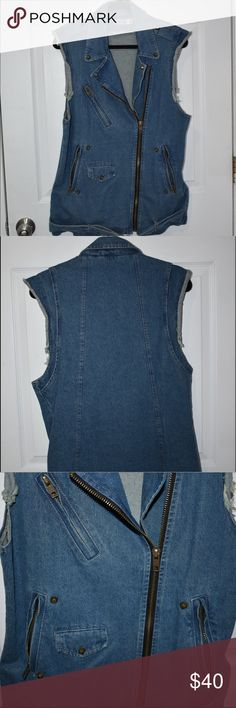 NastyGal Moto Denim Vest Denim vest w/ light distressing on the arm holes. Copper-ish colored zippers and hardware adding a grunge-y feel to vest. Denim belt that can be detached at the hem.  4 belt loops, 2 in the back and 2 in the front.  Selling as is. No issues that I have seen. Leave comment below for add. pics/?'s Rehab Jackets & Coats Jean Jackets