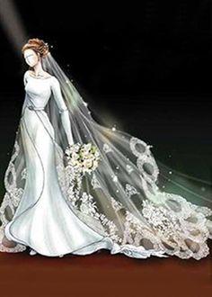 diseño para el vestido de novia de Bella Swan en Amanecer de Crepúsculo.