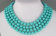 "Vintage 70's Long 72"" Aqua Glass Bead Flapper Necklace | eBay"