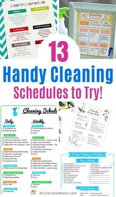 13 Cleaning Schedules to Get Your House Clean- These handy cleaning schedules will make keeping your home tidy easier! Many free printable cleaning schedules are included! | #freePrintables #cleaningSchedules #cleaningTips #printables #ACultivatedNest Diy Home Cleaning, Cleaning Dust, Household Cleaning Tips, Spring Cleaning, Cleaning Hacks, Cleaning Wipes, Cleaning Schedule Printable, Cleaning Schedules, Cleaning Checklist