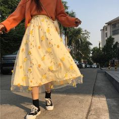 Flower Embroidery Lace Mesh Skrit Women High Elastic Waist Long Mid – cuteshoeswear tshirt and skirt outfit uniform skirt outfit cheap skirts skirt styles guide Aesthetic Fashion, Aesthetic Clothes, Look Fashion, Korean Fashion, Classy Fashion, Unique Fashion, 90s Fashion, Retro Fashion, High Fashion Outfits