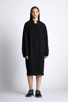 GBP Long unisex Cashmere jacquard knit coat with a double layer collar and patch pocket detail to front. Oversized sleeves with raw edge detail to cuff and hem. Button up front. Knitted Coat, Cashmere Coat, Raw Edge, Pocket Detail, Light In The Dark, Button Up, Normcore, High Neck Dress, Unisex