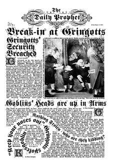 Daily Prophet - Break-in at Gringotts (Harry Potter and the Sorceror's Stone)