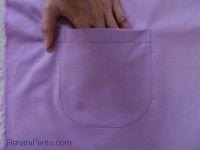 Como costurar um bolso chapado com fundo arredondado