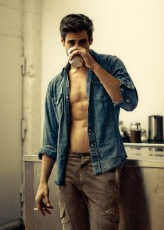 Lounging at home with a cigarette and coffee in hand looking like this...i would RUN home to you.