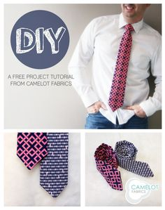 How to's day: diy necktie tutorial camelot fabrics. Sewing Men, Love Sewing, Sewing Clothes, Men Clothes, Diy Clothes Tutorial, Diy Clothes Refashion, Diy Tutorial, Diy Sewing Projects, Sewing Hacks