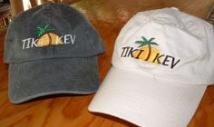 Tiki Kev Baseball Cap Colorful Tiki Kev logo on front of hat, with our web address on the back. Adjustable straps as shown. Available in tan or washed black. For more info: www.tikikev.com / 800-792-8454