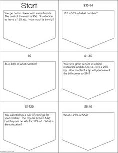 Valentines Day Percent Word Problem Task Cards from Math in the ...