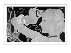 """by George Lepape first July 15, 1933 - Vogue.  """"Fine jewelry is statement-making enough, but these custom pieces from Cartier, Janesick, Mauboussin, and Boivin are especially fetching as depicted in George Lepapes illustration, which appeared in the July 15, 1933, Vogue. In the pre–costume jewelry era, these baubles were especially coveted, with pearls figuring predominantly in the market."""""""