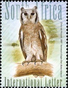 Stamp: Verreaux's Eagle-Owl (Bubo lacteus) (South Africa) (Owls) Mi:ZA 1743,Sn:ZA 1368d,WAD:ZA004.07 Stamp World, Postage Stamp Collection, Vintage Stamps, Animal Totems, Owl Art, African Animals, Stamp Collecting, South Africa, Coaster Design
