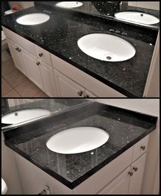 Countertop remodel with Emerald Pearl granite, Flat Polish edge and ...