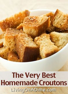 Best Homemade Croutons Recipe- an Easy 5 Minute Recipe!  Our family's favorite! These quick and easy croutons are so tasty you will wonder why you never made homemade before! You can make these Homemade Croutons in less than 5 minutes for less than 25 cents a batch. Click here for more inexpensive #recipes your family will love in our Dining On A Dime Cookbook.